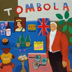 'Great British Prizes' Tombola Portrait Painting by Alan Fears Pop Art