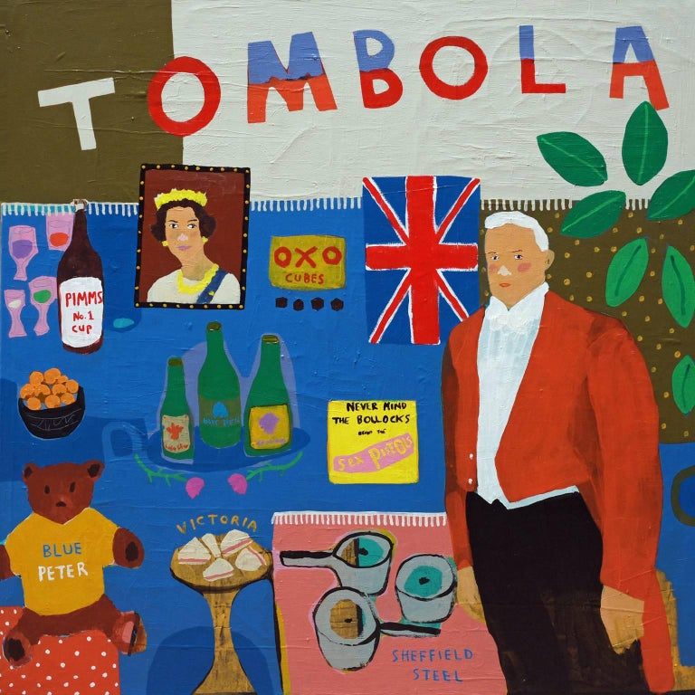 'Great British Prizes' Tombola Portrait Painting by Alan Fears Pop Art For Sale