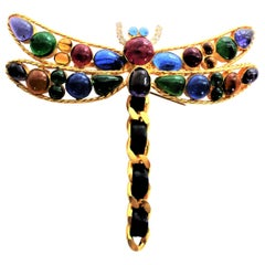 Great Chanel dragonfly brooch from Gripoix 70 / 80's gold-plated