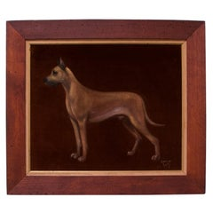 """Great Dane"" Framed Oil on Velvet by Lawrence Shelby"