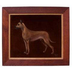 """""""Great Dane"""" Framed Oil on Velvet by Lawrence Shelby"""