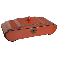 Great Design and Excellent Condition 1920s Red Lacquered Wooden Art Deco Box