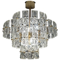 Great Design and Practical Size Midcentury Modern Glass and Brass Pendant Light