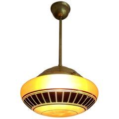 Great Design Mid-Century Modern Glass and Brass Pendant Light Fixture, 1950s
