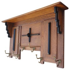 Great Design & Superb Condition Dutch Arts & Crafts Oak and Brass Wall Coat Rack