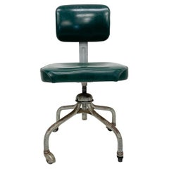 Great Green Naugahyde Steelcase Armless Task Office Chair Vintage Grand Rapids