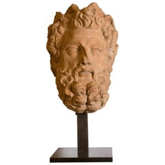 Great Head of God Zeus in Terracotta, 18th Century