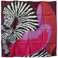 "Great Hermes Silk Scarf ""Zebra Pegasus"" by Alice Shirley, 2014 First issue"