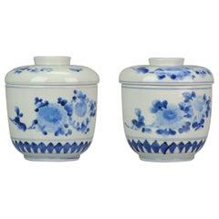 Great Large Pair 19C Japanese Vase Zoshuntei Sanpo Lidded Jars Bird Flowers