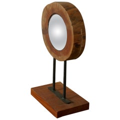 Great Little Natural Yew Wood Folk Art Convex Mirror,