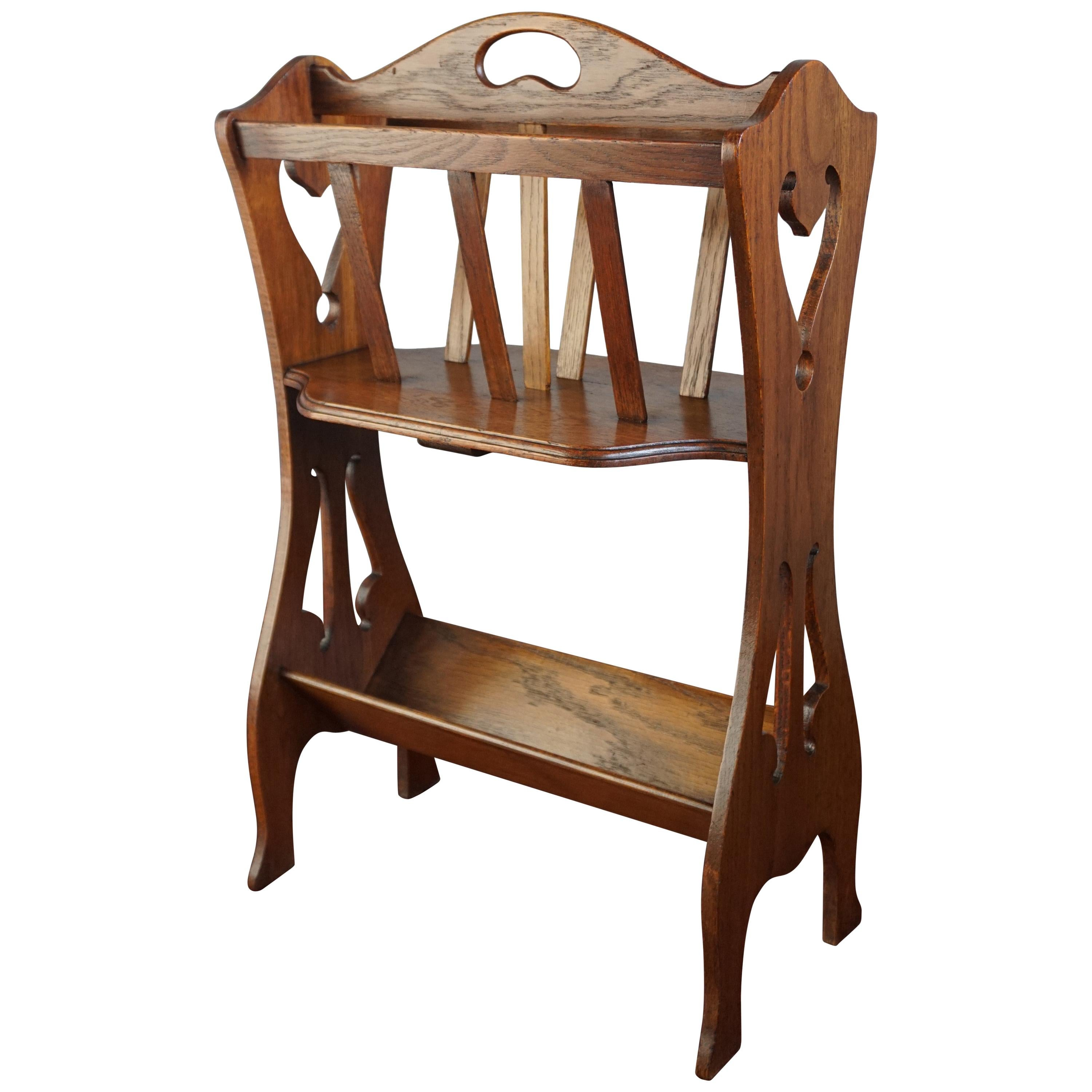 Great Looking 1910s Arts and Crafts Bookcase / Book Trough and Magazine Stand