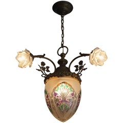 Great Looking Handcrafted Antique Bronze Brass & Cut Glass Chandelier circa 1910