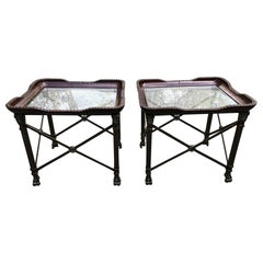 Great Looking Pair of Regency Style Leather Glass & Iron End Tables