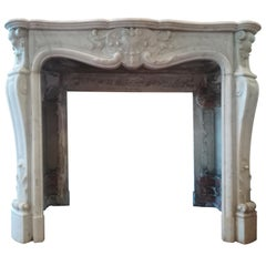Great Louis XV Style White Carrara Marble Fireplace Mantel, 19th Century