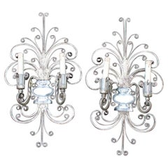 Great Maison Jansen French 1950s Pair Sconces Metal Silver Metal and Crystal