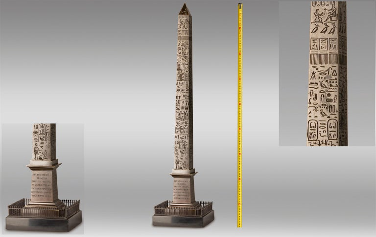 Great Obelisk in Patinated Bronze, First Half of the 19th Century In Excellent Condition For Sale In Saint-Ouen, FR