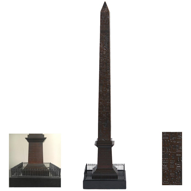 Great Obelisk in Patinated Bronze, First Half of 19th Century For Sale
