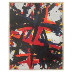 Great Oil Colored Material Board from the 1970s Abstract White Red Black