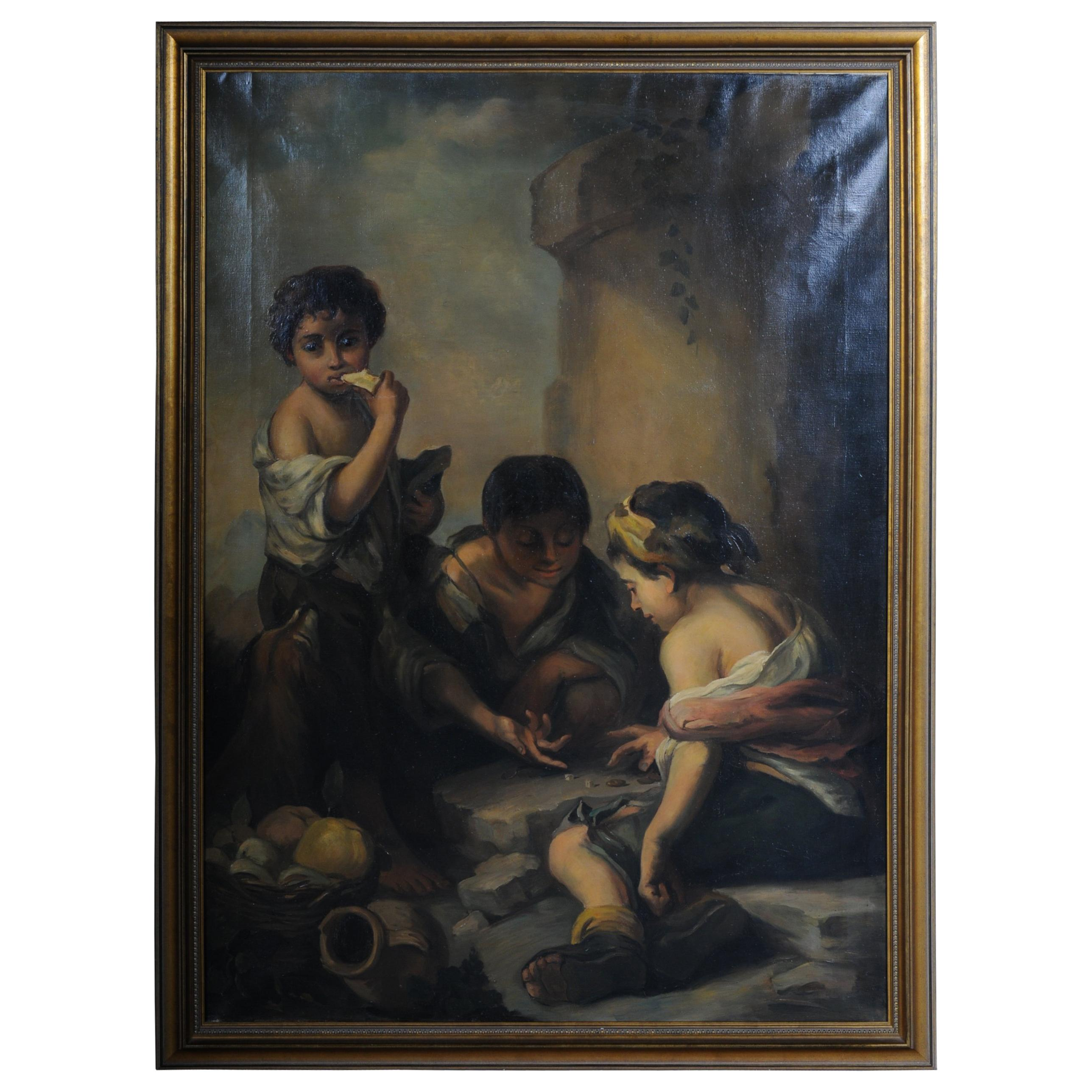 Great Painting Grapes and Melon Eaters After Esteban Murillo Oil of Canvas