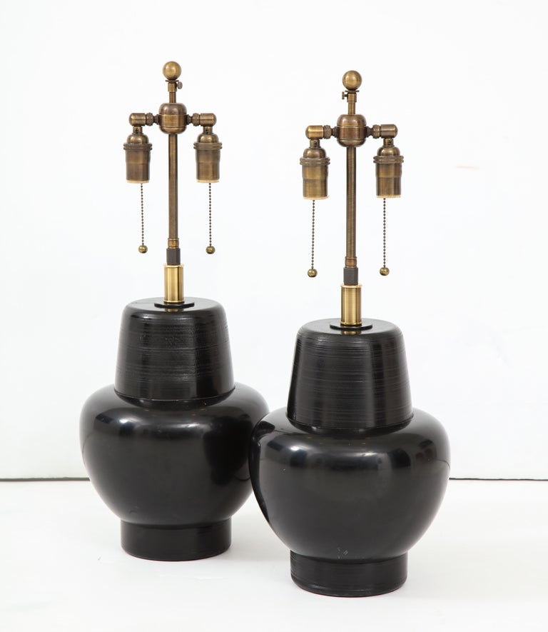 Mid-Century Modern Great Pair of 1950s Wooden Lamps by James Mont For Sale