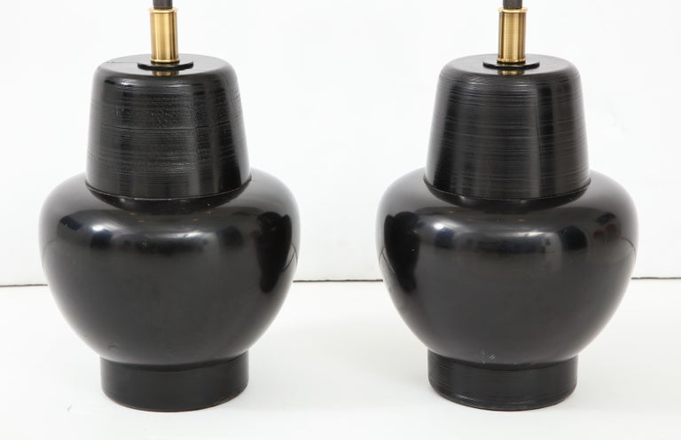 Lacquered Great Pair of 1950s Wooden Lamps by James Mont For Sale
