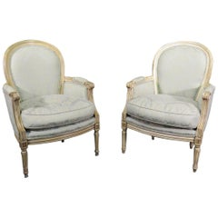 Pair of French Louis XVI Style Balloon Back Bergère Lounge Club Chairs