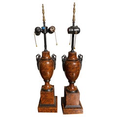 Great Pair of Faux Tortoiseshell Tole Lamps