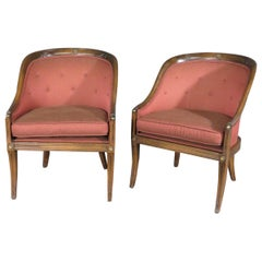 Great Pair of French Regency Walnut Tub Style Lounge Club Chairs, circa 1940s