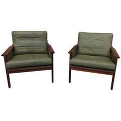 Great Pair of Leather Armchairs by Illum Wikkelso