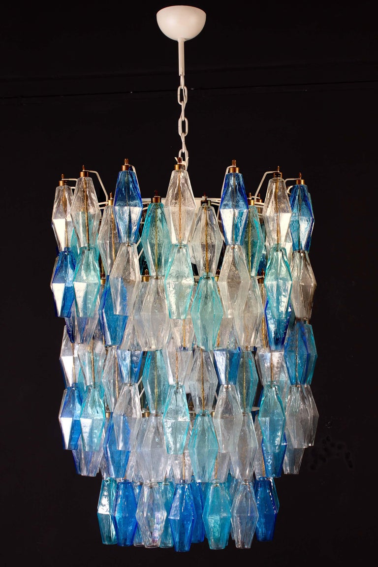 Great Pair of Murano Glass Sapphire Colored Poliedri Chandelier Style C. Scarpa For Sale 3