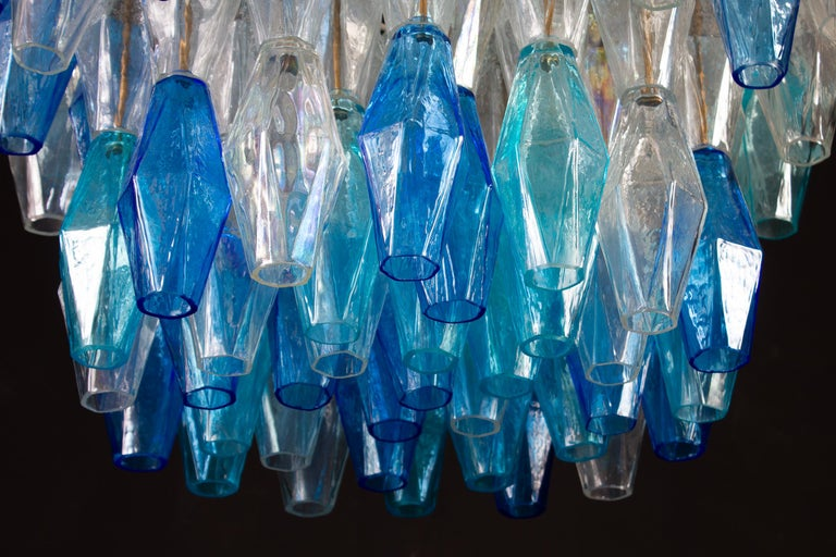 Great Pair of Murano Glass Sapphire Colored Poliedri Chandelier Style C. Scarpa For Sale 4