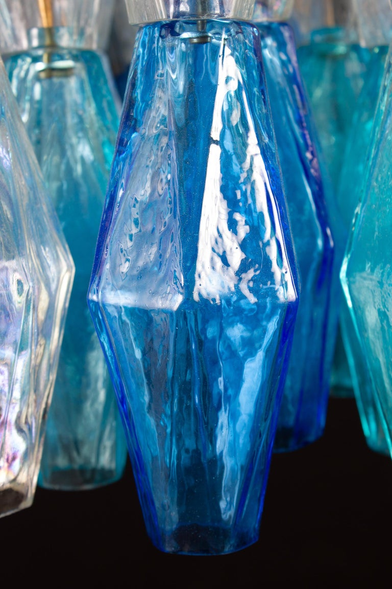 Great Pair of Murano Glass Sapphire Colored Poliedri Chandelier Style C. Scarpa For Sale 5