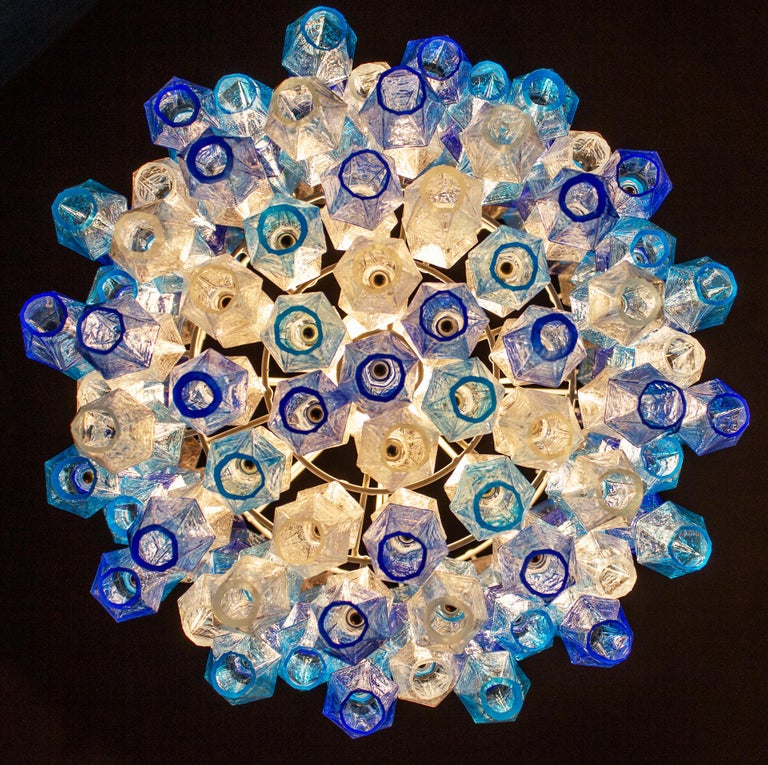 Great Pair of Murano Glass Sapphire Colored Poliedri Chandelier Style C. Scarpa For Sale 8