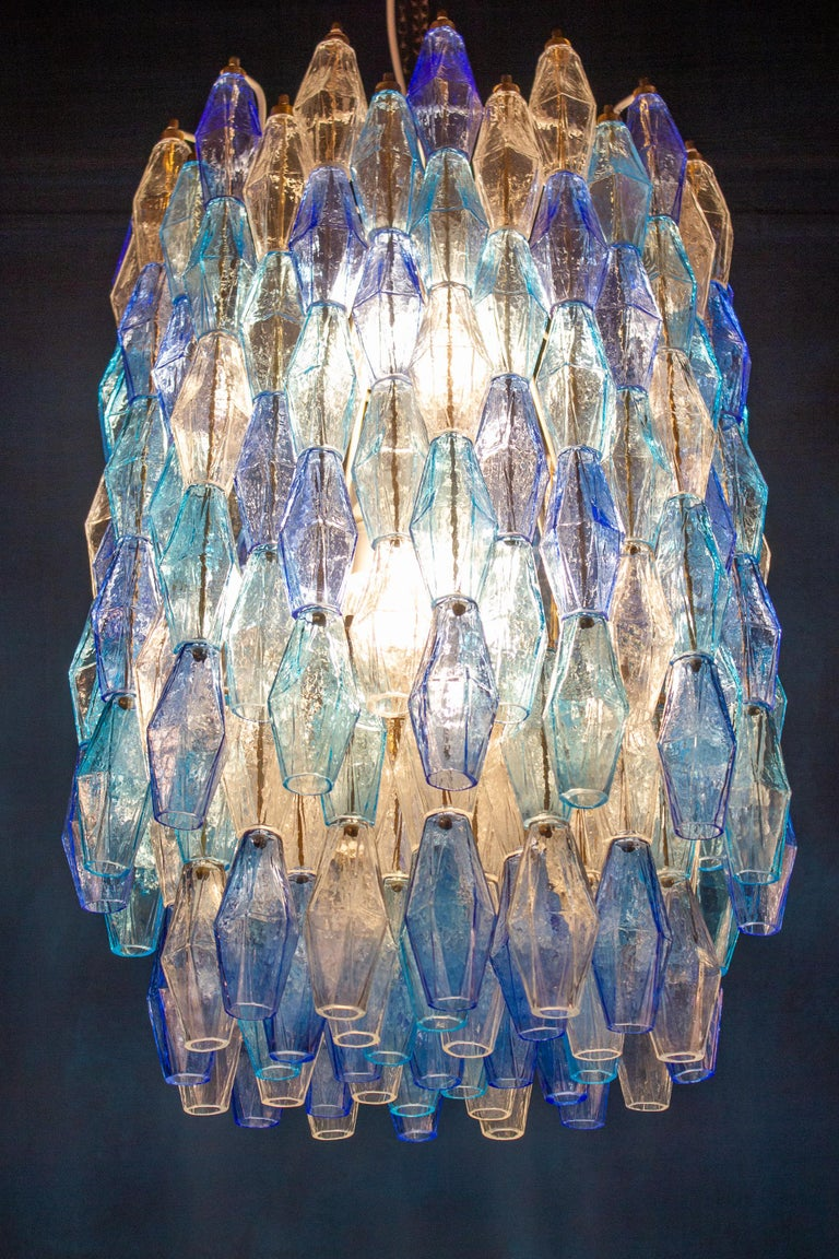 Great Pair of Murano Glass Sapphire Colored Poliedri Chandelier Style C. Scarpa For Sale 9