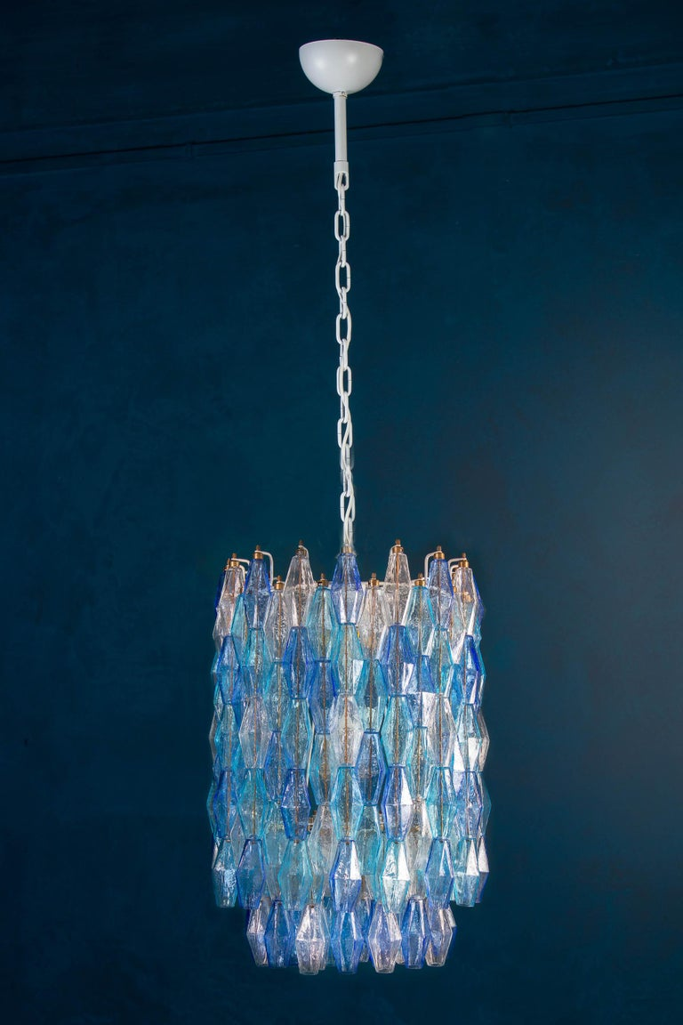 Great Pair of Murano Glass Sapphire Colored Poliedri Chandelier Style C. Scarpa For Sale 13