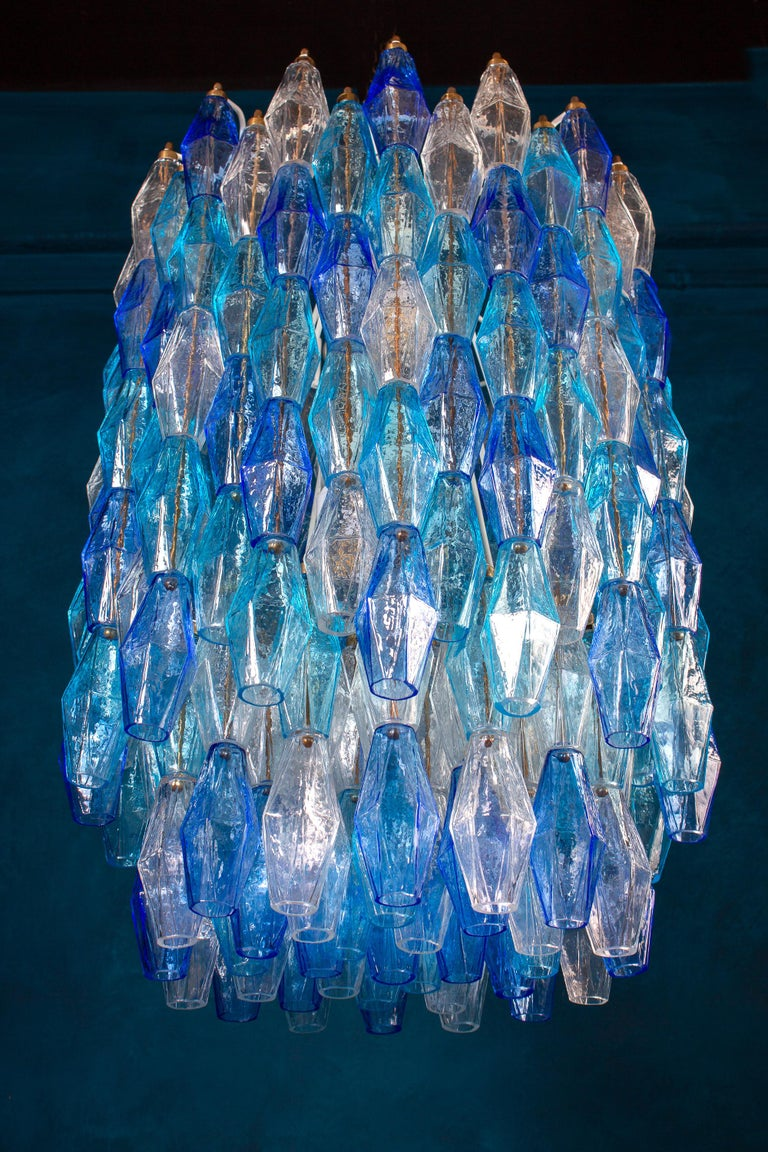 Mid-Century Modern Great Pair of Murano Glass Sapphire Colored Poliedri Chandelier Style C. Scarpa For Sale