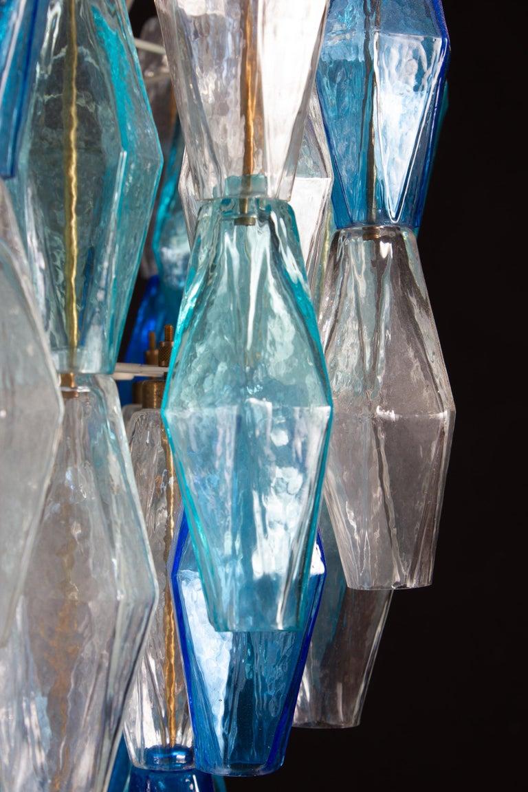 Italian Great Pair of Murano Glass Sapphire Colored Poliedri Chandelier Style C. Scarpa For Sale