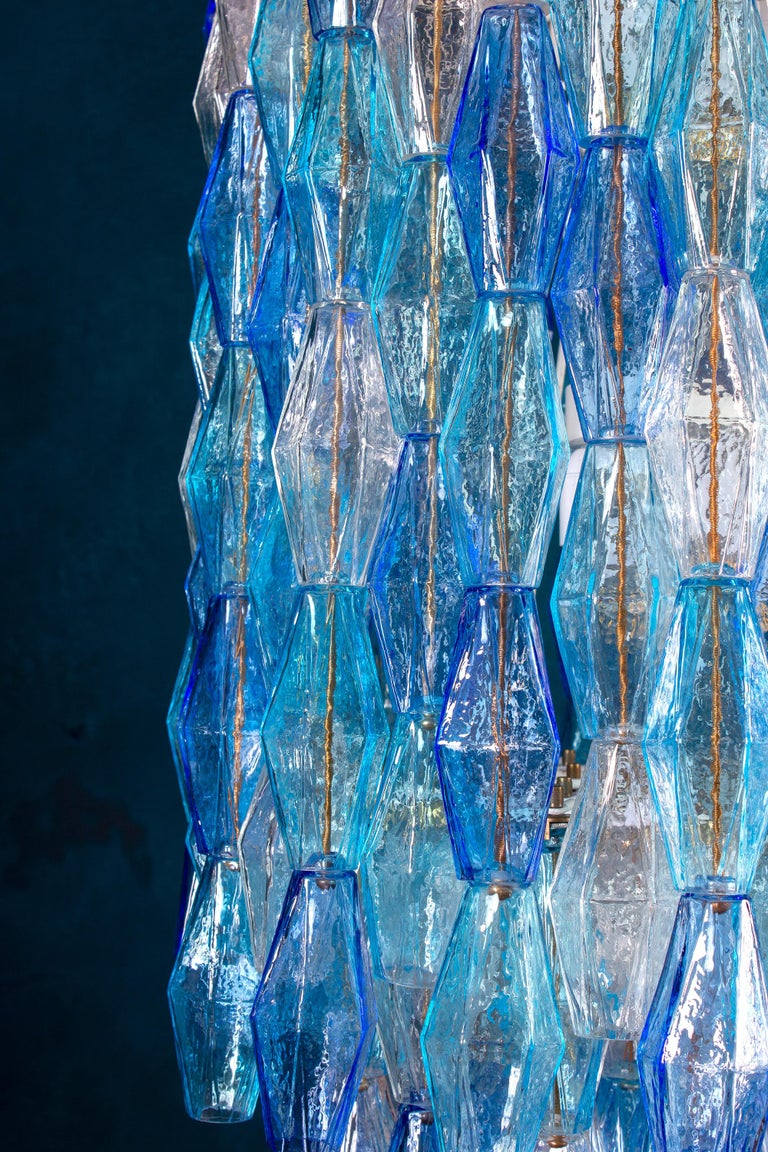 Great Pair of Murano Glass Sapphire Colored Poliedri Chandelier Style C. Scarpa In Excellent Condition For Sale In Rome, IT