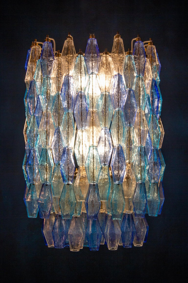 Late 20th Century Great Pair of Murano Glass Sapphire Colored Poliedri Chandelier Style C. Scarpa For Sale
