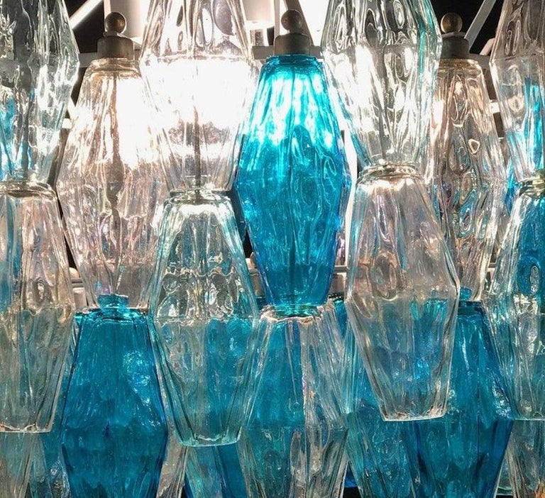 Great Pair of Murano Glass Sapphire Colored Poliedri Chandelier Style C. Scarpa For Sale 1