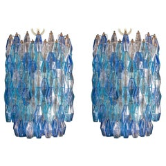 Great Pair of Murano Glass Sapphire Colored Poliedri Chandelier Style C. Scarpa