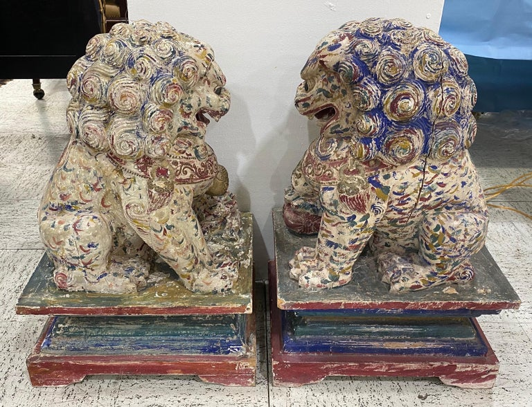 Great Pair of Polychrome Carved Wood Foo Dogs For Sale 1
