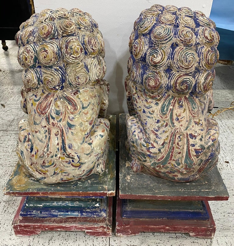 Great Pair of Polychrome Carved Wood Foo Dogs For Sale 2