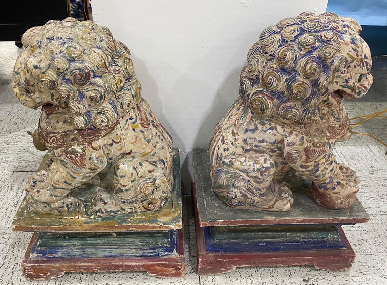 Great Pair of Polychrome Carved Wood Foo Dogs For Sale 3