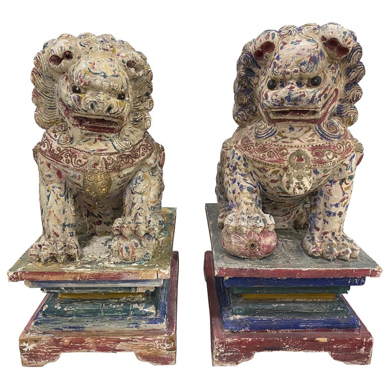Great Pair of Polychrome Carved Wood Foo Dogs For Sale