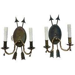 Great pair of Regency Style Arrow Sconces