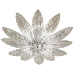 Great Palmette Shallow Flush Ceiling Mount, in the Style of Barovier, Murano