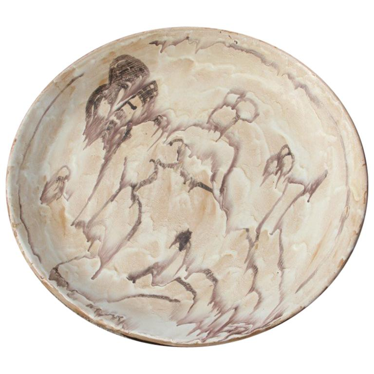 Great Plate Ceramic Glazed Woman Nude Italian Design 1960