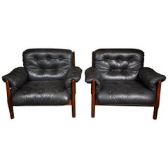 Great Quality Black  Leather and Teak  Brazilian Armchairs by Jean Gillon