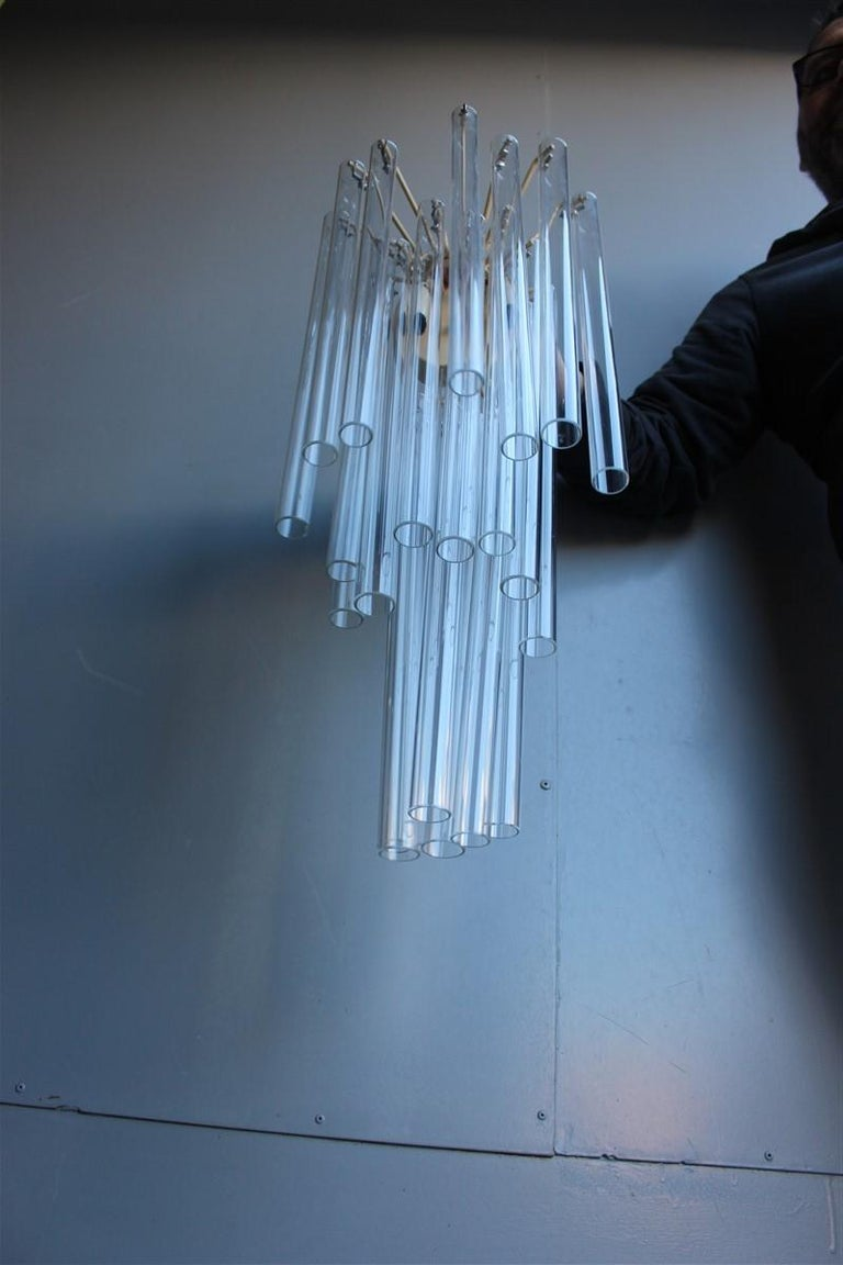 Great Sconce Venini Cannucce Straws 1960 Transparent Glass 1960 Marked Italian For Sale 6